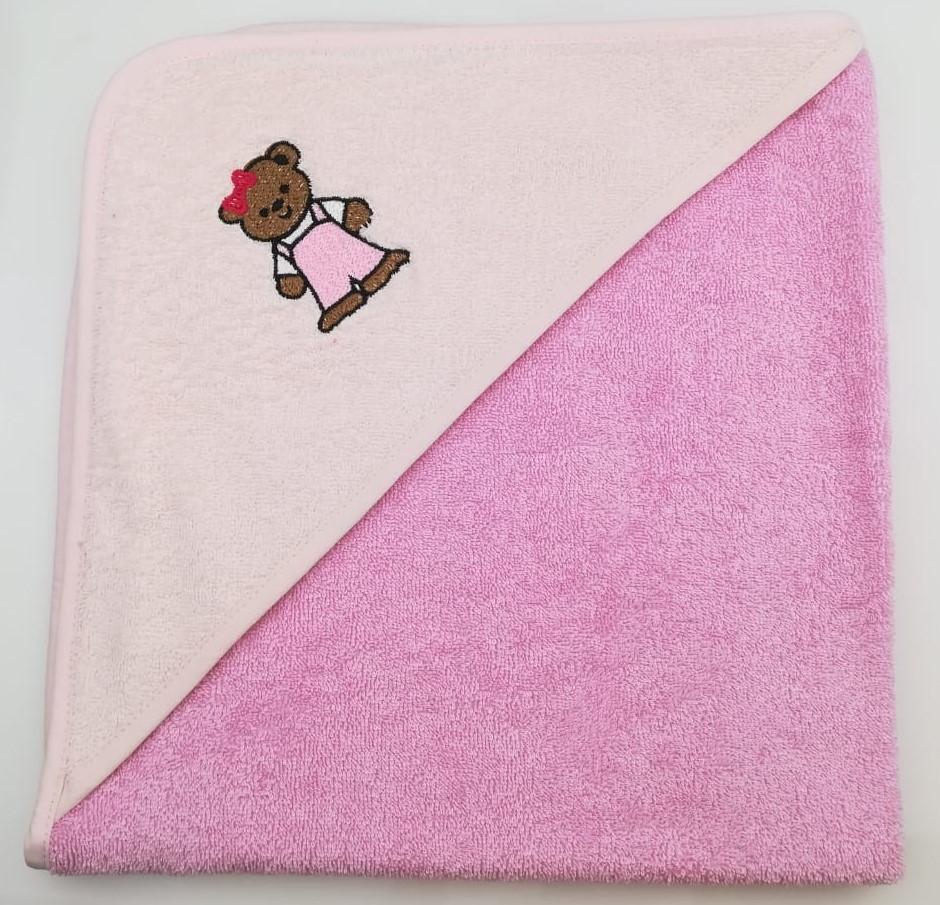 Уголок дет. махровый с вышивкой Медвежонок (темно-розовый)