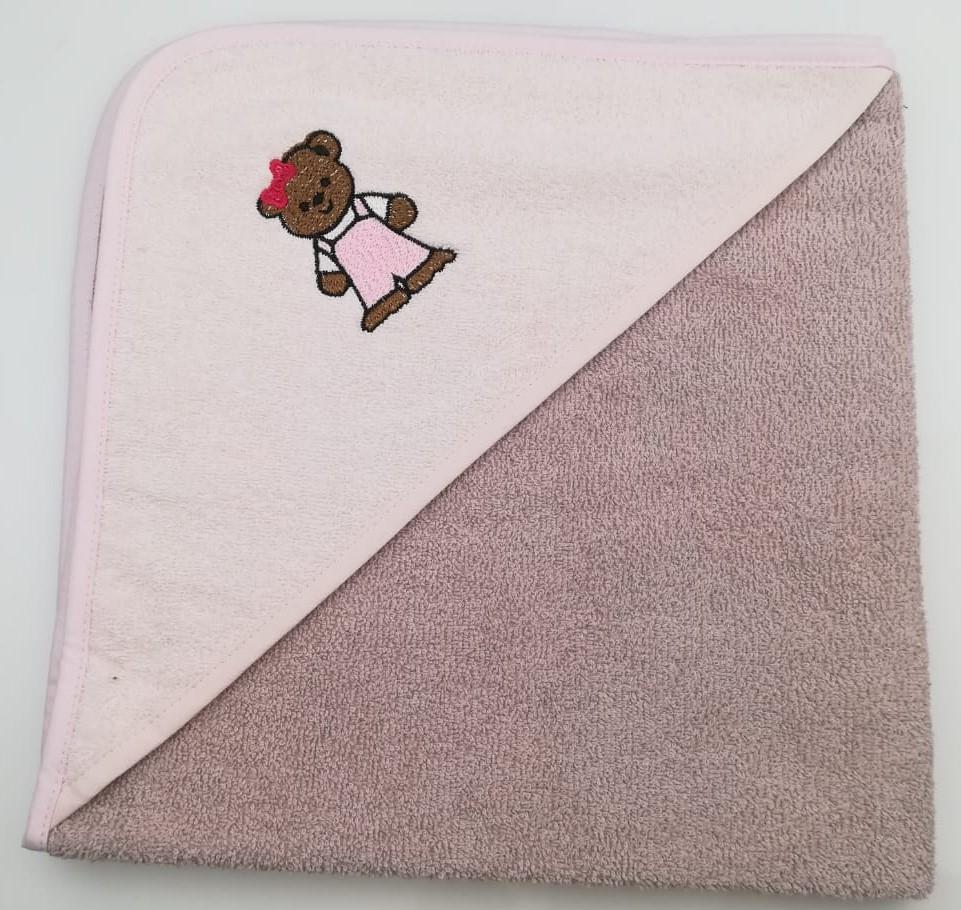 Уголок дет. махровый с вышивкой Медвежонок (коричневый)