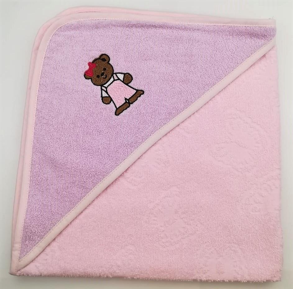 Уголок дет. махровый с вышивкой Медвежонок (светло-розовый)
