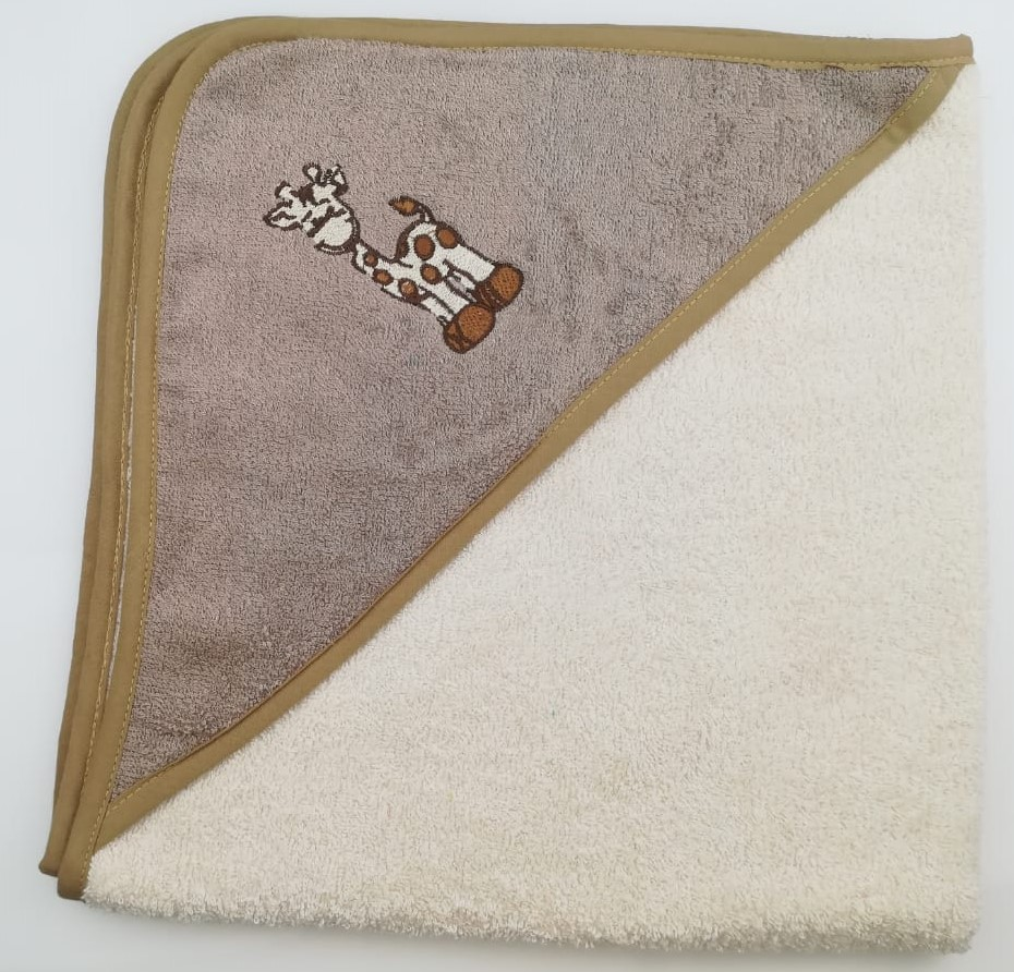 Уголок дет. махровый с вышивкой Жираф (кремовый)