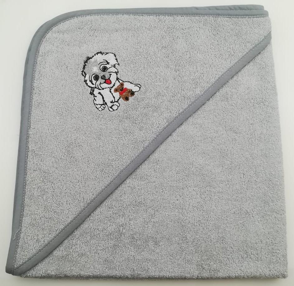 Уголок дет. махровый с вышивкой Собачка (серая)