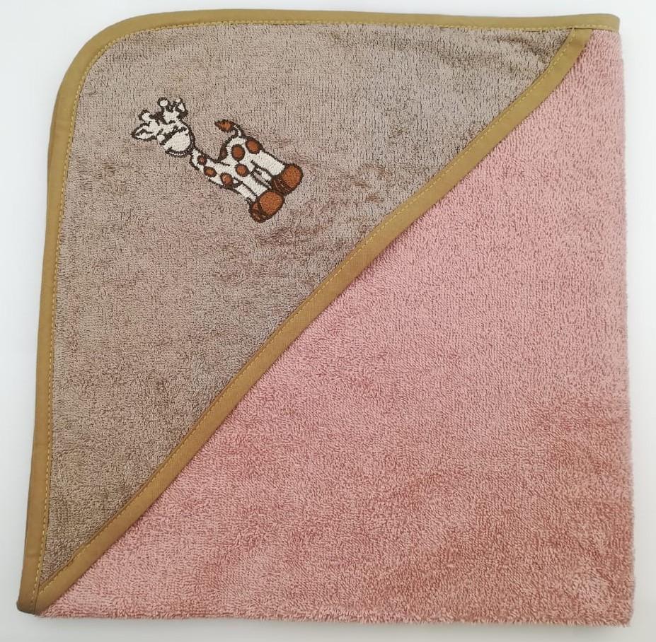 Уголок дет. махровый с вышивкой Жираф (бежевый)