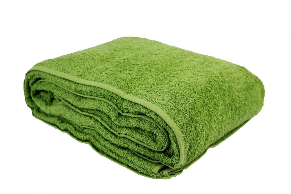 Простыня-покрывало махровая зеленая