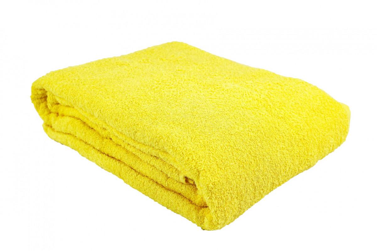 Простыня-покрывало махровая лимонная
