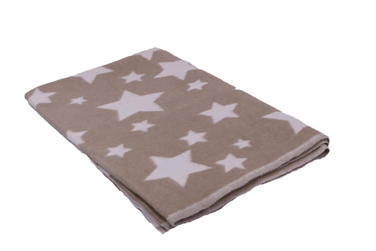 Одеяло Хлопок100% Звезды бежевый 10-7