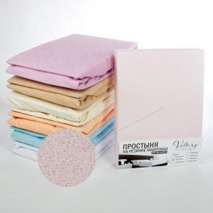 Простынь на резинке махровая  (PM розовая)