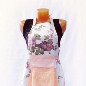 Фартук с полотенцем (цветы персиковые)