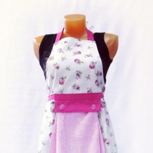 Фартук с полотенцем (цветы мелкие розовые)