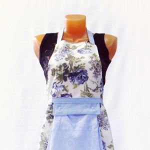 Фартук с полотенцем (цветы голубой)