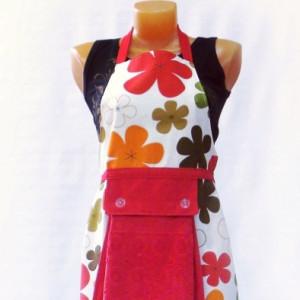 Фартук с полотенцем (цветы крупные красные)