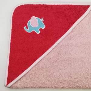 Уголок дет. махровый с вышивкой Слоненок (кооралловый)