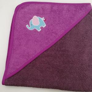 Уголок дет. махровый с вышивкой Слоненок (баклажан)
