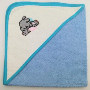 Уголок дет. махровый с вышивкой Слоненок (голубой)