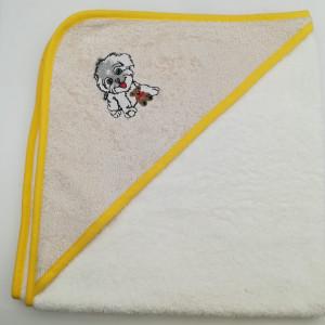 Уголок дет. махровый с вышивкой Собачка (бежевая)